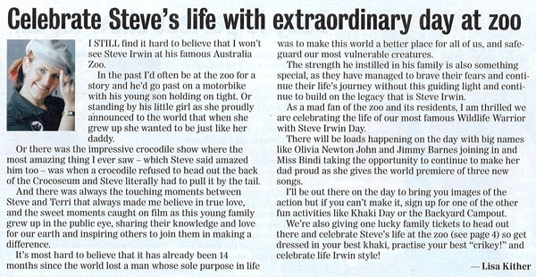 Celebrate Steve's Life With Day At Zoo